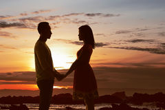 Young asian couple looking each other Stock Images