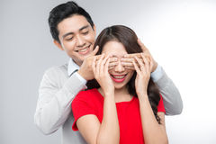 Young Asian Couple playing games Royalty Free Stock Photo