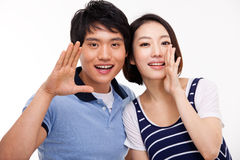 Young Asian couple say something Stock Photo