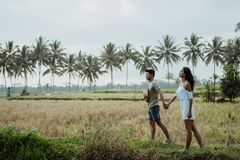 Couple stylish walking in rice field together royalty free stock images
