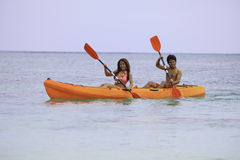 Young asian couple in their kayak Stock Photo