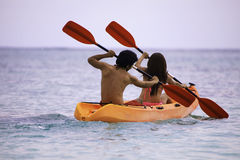 Young asian couple in their kayak Royalty Free Stock Photography