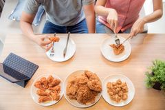 Couples eating together Stock Photo