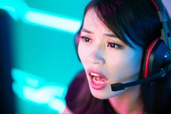 Young Asian cyber sport gamer stock photography