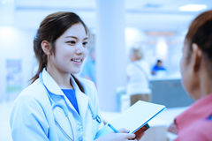 Young asian doctor portrait in hospital Royalty Free Stock Photography