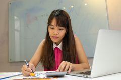 Young employee working on sales report and calculator royalty free stock photo
