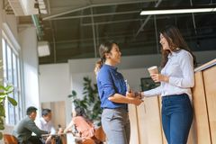 Young Asian entrepreneurs in a discussion in a co working space.  royalty free stock image