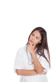 Young Asian female doctor thinking hand on chin Royalty Free Stock Photos
