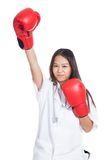 Young Asian female doctor win the fight Stock Photo