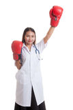 Young Asian female doctor win the fight. Young Asian female doctor win the fight isolated on white background stock photos