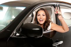 Young Asian Female Driver Holding Car Keys Royalty Free Stock Photography