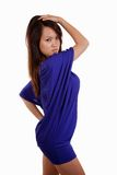 Young asian female model wearing purple dress Stock Photos