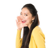 Young Asian female shouting Royalty Free Stock Photos