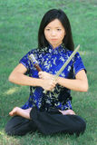 Young Asian Female with Sword Royalty Free Stock Photos