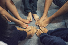 Young Asian Foot Gather. For playing games royalty free stock images