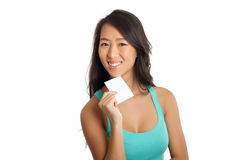Young Asian girl with blank paper Stock Image