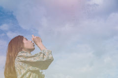 Young asian girl blowing soap bubbles Royalty Free Stock Photos