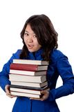 Young asian Girl with books. Isolated on white royalty free stock photos
