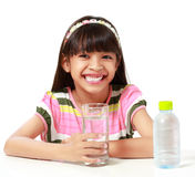 Young asian girl with a-glass of water stock image