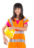 Young Asian Girl With Hard Hat And Vest II Stock Photos