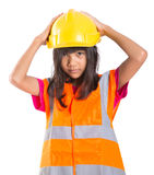 Young Asian Girl With Hard Hat And Vest IV Royalty Free Stock Image