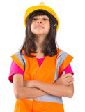 Young Asian Girl With Hard Hat And Vest V Royalty Free Stock Photos