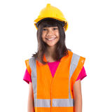 Young Asian Girl With Hard Hat And Vest VII Royalty Free Stock Photos