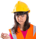 Young Asian Girl With Hard Hat And Vest X Stock Images