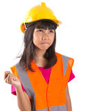 Young Asian Girl With Hard Hat And Vest XI Stock Photos