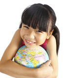 Young asian girl holding earth globe Stock Photography