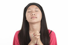Young asian girl , isolated on white background Royalty Free Stock Photos