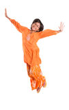 Young Asian Girl Jumping Happily I Stock Image