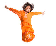 Young Asian Girl Jumping Happily VIII Royalty Free Stock Photo