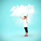 Young asian girl playing white clouds Stock Photography