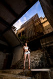 Young asian girl posing in abandoned building Stock Images