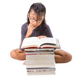 Young Asian Girl Reading Books IV Stock Photography