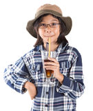 Young Asian Girl With Shirt, Hat and Drink I Stock Photo