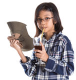 Young Asian Girl With Shirt, Hat and Drink II Stock Images