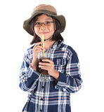 Young Asian Girl With Shirt, Hat and Drink IV Stock Photography