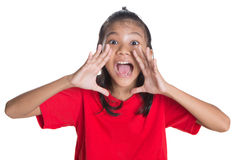 Young Asian Girl Shouting III. Young Asian Malay girl with shouting expression over white background Royalty Free Stock Photography
