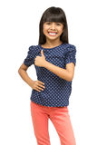 Young asian girl showing thumb up. Isolated over white with clipping path Royalty Free Stock Photos