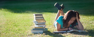 Young Asian girl studying outside. A young Asian girld studying outside in the grass Royalty Free Stock Image