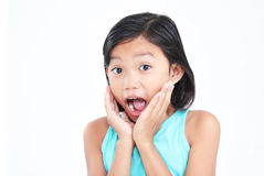 Surprised Girl. Young asian girl with surprised expression stock photos