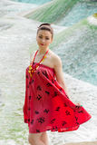 Young Asian girl walking in national clothes. Near a river Royalty Free Stock Photo