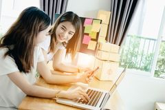 Young asian girls are freelancer with her private business Royalty Free Stock Image