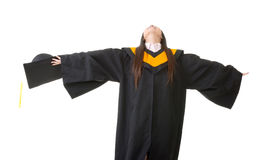 Young asian graduation woman feel free Royalty Free Stock Image