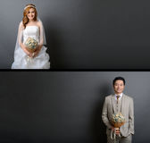 Young asian groom and bride posing in studio for pre wedding sho. T Royalty Free Stock Image
