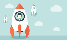 Young asian guy in side the rocket. A Young asian guy inside the rocket on launch of space. Startup concept A Contemporary style with pastel palette, soft blue vector illustration