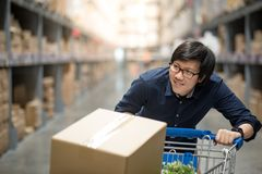 Young Asian man shopping with trolley cart in warehouse. Young Asian happy man using trolley cart putting cardboard box inside. Shopping furniture in warehouse Royalty Free Stock Image