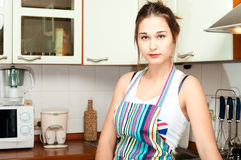Young asian housewife on domestic Royalty Free Stock Images